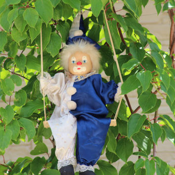 Clown Doll, Clown Figurine, Clown on a Swing, Circus Clown, String Puppet, Home decor