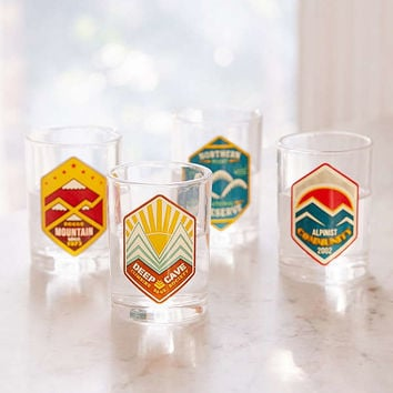 Retro Camping Logo Shot Glasses Set | Urban Outfitters
