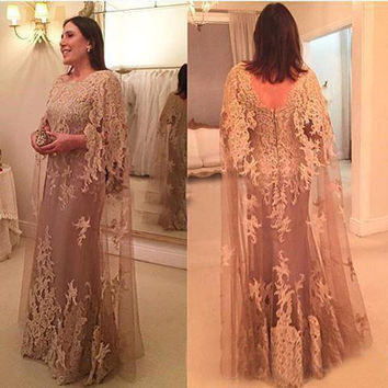 Arabic Evening Dress Elegant Moroccan Kaftan Lace Appliqued Muslim Long Evening Dresses Turkish Women Vestido de Noche 2017