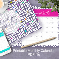 New School Year Calendar 2016-17, Printable Monthly Organizer, download desk planner, dated boxes calendar, landscape, letter size PDF