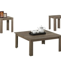 Dark Taupe Reclaimed-Look 3Pcs Square Table Set