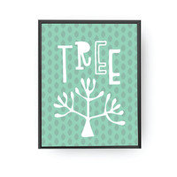 Tree Typography, Educational Poster, Kids Art, Classroom Art, Nursery Decor, Tree Illustration, Kids Print, Plant Lettering, Kids Room Decor