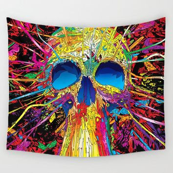 Skull Sea Wave Square Carpet On Hanging Wall Hippie Tapestry Beach Towel Blanket  Decor