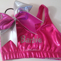 Bar Bar Metallic Sports Bra and Bow Set by SparkleBowsCheer