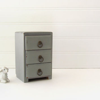 French Provencal Desk Organizer - Grey Chalk Painted three drawer Organizer - Rustic cottage Decor - Back to school