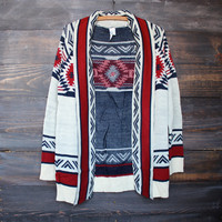 mod lightweight tribal cardigan aztec rust