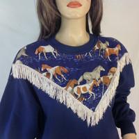Vintage Horse and Fringe Sweatshirt  Jerzees Sweatshirt  Equestrian Top  Novelty Sweater