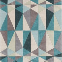 Cosmopolitan Geometric Area Rug Blue, Gray
