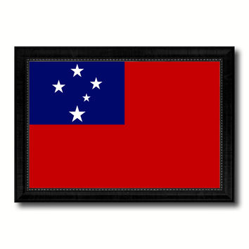 Western Samoa Country Flag Canvas Print with Black Picture Frame Home Decor Gifts Wall Art Decoration Gift Ideas