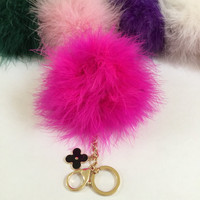 Hot pink feathered pom pom bag charm new design with flower charm hardware