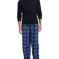 Intimo Men's Knit Henley Printed Micro Fleece Pajama Set