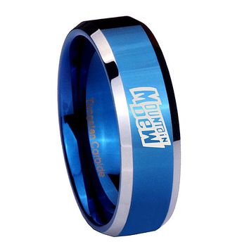 8MM Shiny Blue Mountain Dew Bevel Edges 2 Tone Tungsten Laser Engraved Ring