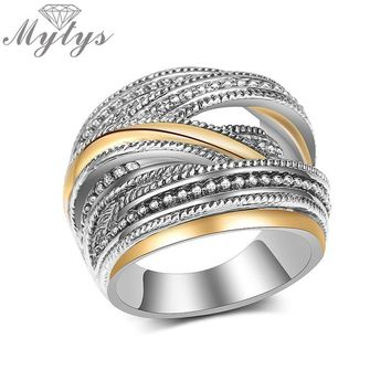 Mytys New Design Geometric Cross Line Bar Old Silver Ring Antique Fashion Jewelry for Women Office Jewelry Mother's Gift R2029