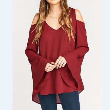 Wine Red Long Sleeve Cutout Loose Top