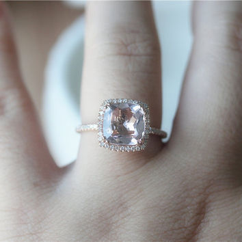 14K Rose Gold 9mm Cushion Morganite Ring/Wedding Ring/Morganite Engagement Ring Rose Gold/Promise Ring/Anniversary Ring/Stackable Ring