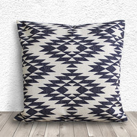 Pillow Cover, Aztec Pillow Cover, Tribal Pillow Cover, Linen Pillow Cover 18x18 - Printed Tribal - 042