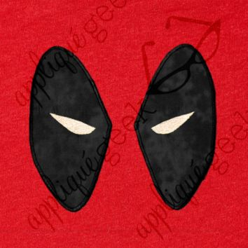 Deadpool Inspired Comic Hero Eyes Applique Embroidery Design - Appliqué Geek