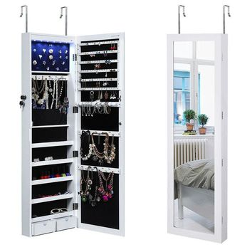 White Wood Door Mounted Jewelry Cabinet Mirror with LED Light