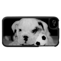 Soccer Puppy English Bulldog Iphone 4 Case from Zazzle.com