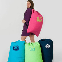 Monogrammed Large Waffle Weave Laundry Bags; Available in 5 Colors; Perfect for Guys & Girls; Graduation Present or Perfect for Summer Camp