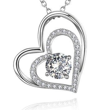 """18K Gold Plated Silver with Diamond Love Heart Pendant Necklace for Women, 18"""""""