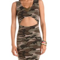 Cutout Front Camo Body-Con Dress: Charlotte Russe
