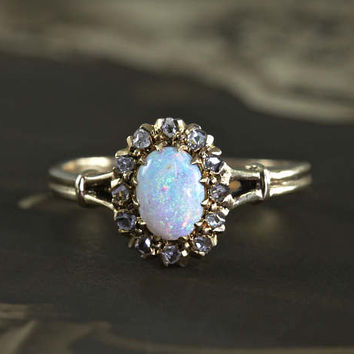 Antique Opal & Rose Cut Diamond Ring, Alternative Bohemian Engagement Ring, 14k Yellow Gold Rustic Diamond Halo October Birthstone
