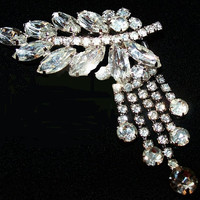 "Juliana D&E Confirmed Brooch Ice Clear Dangling Rhinestones Silver Metal 3"" Vintage"