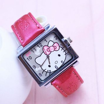 New Arrival Lovely children watches Hello Kitty Watch Gift Leather Strap Watch Student Watch