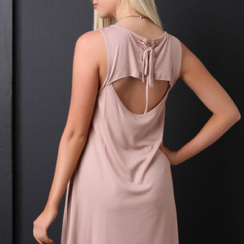 Sleeveless Back Cutout Lace Up Shift Dress
