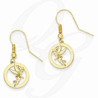 Gold-Plated SS Disney Tinker Bell Round Dangle Wire Earrings