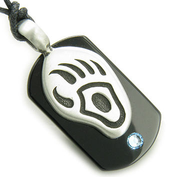 Amulet Spiritual Protection Black Agate Tag Bear Paw Sky Blue Crystal Pendant Necklace