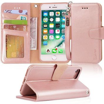 LMFMS6 iphone 7 case, iPhone 8 case, Arae PU leather wallet Case with Kickstand and Flip Cover for iPhone 7 (2016) / iPhone 8 (2017) - Rosegold