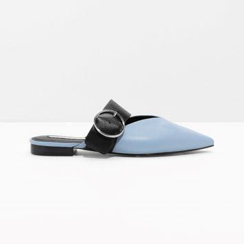 & Other Stories | Pointed Buckle Flats | Blue Reddish Light