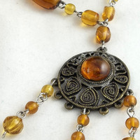Brass and Amber Beaded Necklace OOAK One of a by theotherstacey