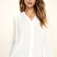 Centered White Button-Up Top