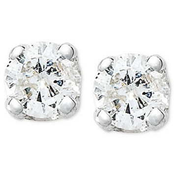 10k White Gold Earrings, Round-Cut Diamond Accent Stud Earrings - Earrings - Jewelry & Watches - Macy's