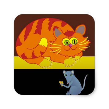 Cat & Mouse Square Sticker