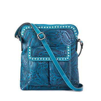 Floral Embossed Buck Stitch Crossbody