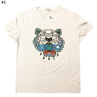 Kenzo Tide brand new embroidered tiger head men and women round neck shirt T-shirt