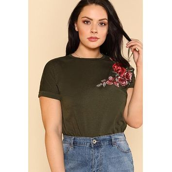 Embroidered Rose Patch T-shirt