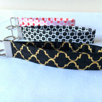 Key Fob Wristlet, Keychain in Black Polka, Pink Heart Love, Gold Lattice