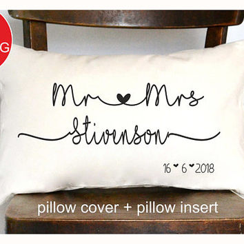 Mr & Mrs Personalized pillow, Wedding gift , Anniversary gift pillow, Newlywed Gift,Engagement Gift,Bridal shower gift , Wedding pillow (P8)