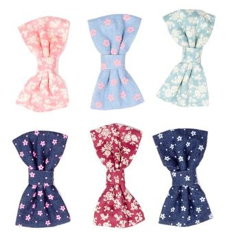 Flower Print Bows - Beautiful Hair Accessories for Girls by Little Pink