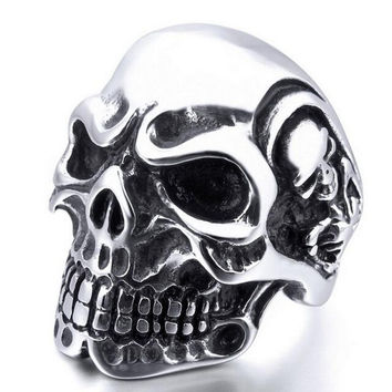 Ring Stainless Steel Rings For Man Big Tripple Skull Ring Punk Biker Jewelry SM6