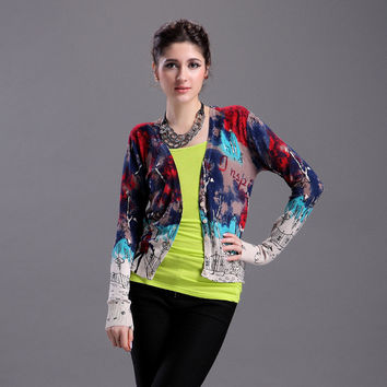 Knit Tops Strong Character Print Cardigan [9056520454]