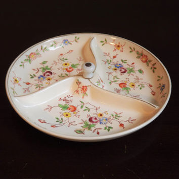 Divided Dish, Vintage Relish Tray, Flower Serving Dish, Made in Japan, Floral Glass Condiment Plate, Office Storage