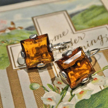 Vintage Earrings Amber Glass Art Deco Lever Back Cut Faceted Open Back Circa 1920s 1930s Flapper Era Antique Jewelry Estate Heirloom Topaz