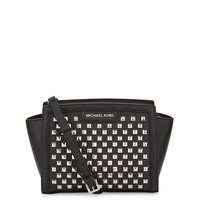 Selma Pyramid-Stud Medium Messenger Bag, Black - MICHAEL Michael Kors