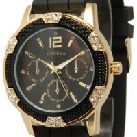 Black Gold Crystal Rhinestone Geneva Faux Chronograph Rubber Jelly Watch